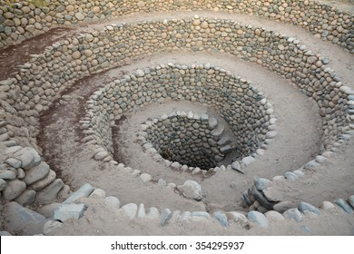 Ancient wells near town Nazca. Peru.Wells constructions and part of elaborate underground aqueduct system made by the people of Nazca  at 400/500 AD, Nazca Desert in southern Peru.