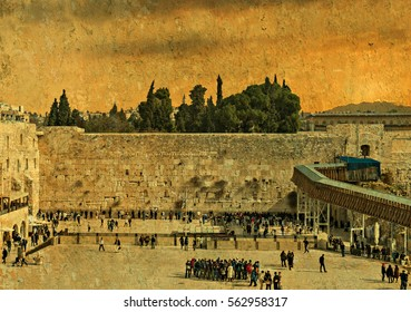 Ancient Western Wall in Jerusalem is a major Jewish sacred place and one of the most famous public domain in the world, Jerusalem, Israel . Toned and textured image for inspiration of vintage style