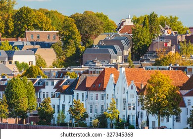 Ancient white houses in the Dutch city of Nijmegen