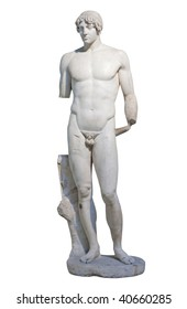 Ancient white marble statue of a standing young man