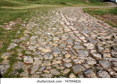 Ancient winding road paved with cobblestone and overgrown by grass.