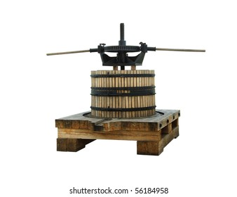 Ancient wine press isolated on white background. Traditional old technique of winemaking.