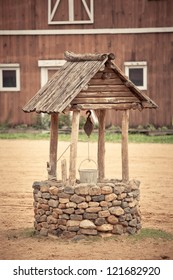 ancient wishing well of old western building