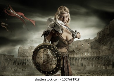 Ancient woman warrior or Gladiator in the arena