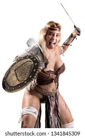 Ancient woman warrior or Gladiator isolated in white