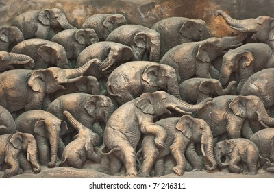 ancient  wood carving elephants from Thailand