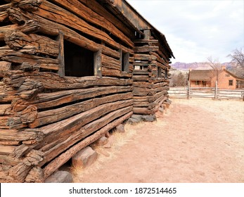 Ancient wooden barn from the 1800's in the  Mormon Pioneer ghost town of Grafton, Utah USA