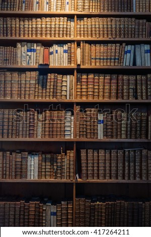 Ancient Wooden Book Shelves With Old Library Books In Vienna Austria Dusty Bookshelf