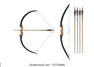 Ancient wooden bow isolated on white background. This has clipping path.