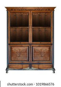 Ancient wooden cabinet with glass inserts in the door isolated on white background with clipping path