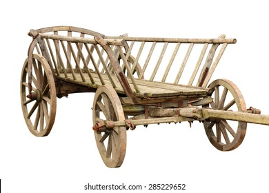 Ancient wooden cart isolated on white