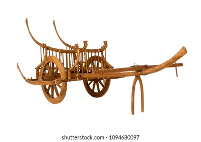 Ancient wooden cart thai style wagon for cows drag, Isolated on white background