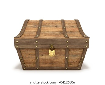 Ancient wooden chest on a white background. 3D illustration