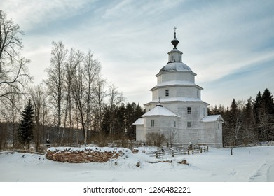 Ancient wooden church of Elijah the Prophet was built in 1755 near village Tsypino, Vologda region, Russia