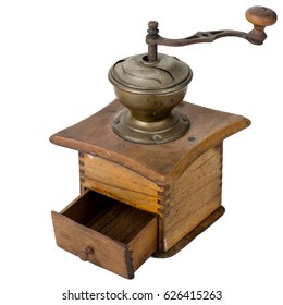 Ancient wooden coffee grinder with a lid and a handle on a white background wild flower
