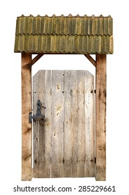 Ancient wooden door isolated on white