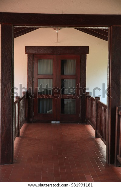 ancient Wooden door at the royal house of Thailand