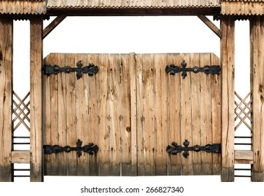 Ancient wooden gate isolated on white