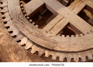 ancient wooden gearwheel