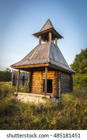 Ancient wooden lookout tower in the old Russian style.