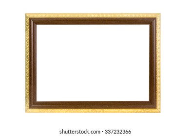 Ancient wooden photo frame isolated on white background.