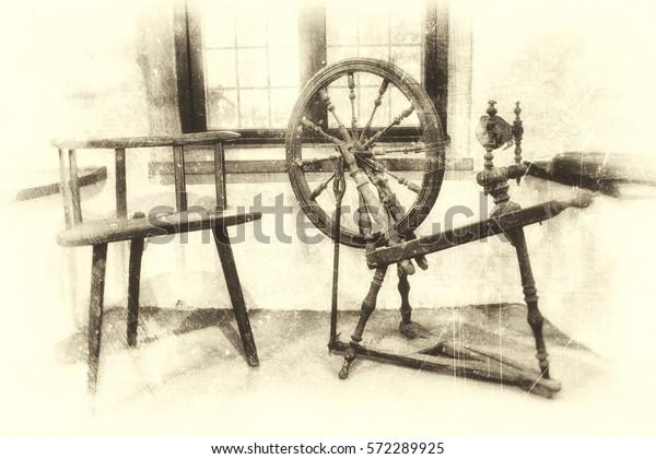 Fantastic Ancient Wooden Spinning Wheel Three Legged Stock Photo Edit Creativecarmelina Interior Chair Design Creativecarmelinacom