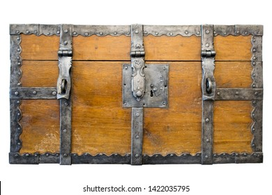 Ancient wooden trunk front with padlock hasps and engraving. Antique loot box. Isolated.