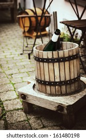 Ancient  wooden wine press in outdoor setting