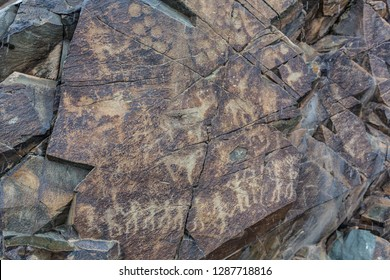 the ancients Petroglyphs in Tamgaly Tash in Kazakhstan