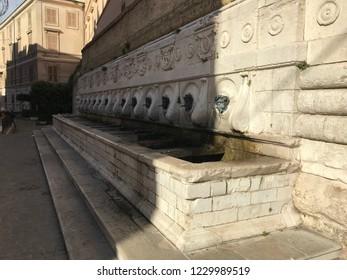 Ancona, Italy 08 November 2018: Historical fountain of the 14 granite tubes