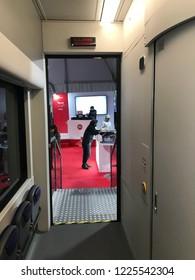 Ancona, Italy 09 November 2018: presentation with radio RTL 102.5 of the new Trenitalia Rock train