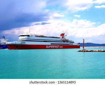 Ancona, Italy 10 april 2019: Superfast ship enter in Ancona harbour after a navigation