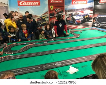 Ancona, Italy 10 November 2018: Fantafiera with board games, puzzles and collectible cards