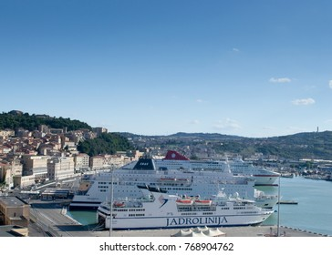 ANCONA, ITALY - 18 AUGUST 2014: Big ferries at the port of Ancona, Jadrolinija ferry in the foreground