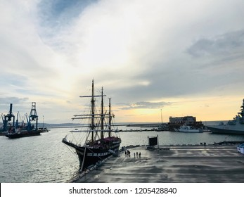 Ancona, Italy 21 June 2018: city port with art and ships in transit