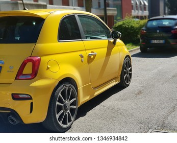 Ancona, Italy 22 march 2019: a nice yellow Fiat Abarth  Parked. selective focus and blurred background