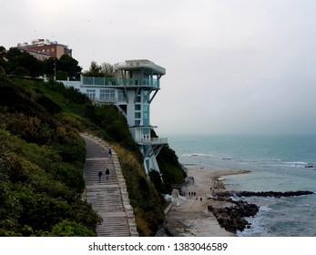 Ancona, Italy 26 april 2019: Passetto Ancona, view of sea in a overcast day.