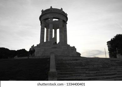 """Ancona, Italy 8 March 2018: black and white photo of the historical monument """"Passetto"""" of the city of Ancona"""