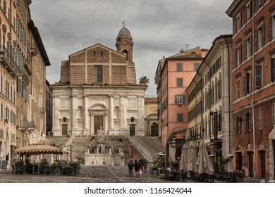 ANCONA, ITALY - APRIL 14th 2018. Various influences of Greek, Roman, Medieval and modern architecture make Ancona an interesting city. Artistic monuments are lurking on every corner of the city. A fav
