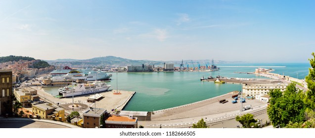 Ancona, Italy - August 23, 2018: Panoramic view of the commercial port, Adriatic sea.
