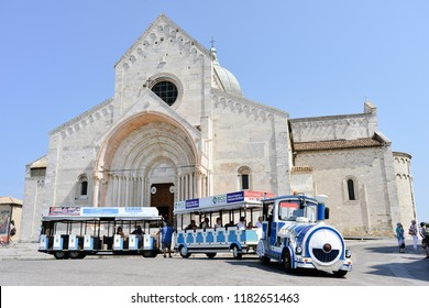 Ancona, Italy - August 23rd, 2018: Tourist train on the square of Ancona's cathedral