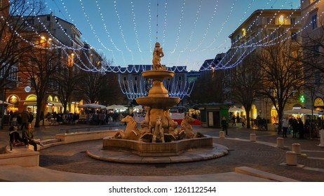 ANCONA, ITALY - DECEMBER 12, 2018: Piazza Pertini with decorations at christmas time in Ancona, Marche region, Italy