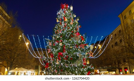 ANCONA, ITALY - DECEMBER 12, 2018: Wonderful and big christmas tree in Pertini square of Ancona, Marche region, Italy