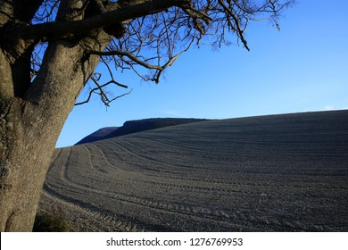 Ancona, Italy - January 1, 2019: The hills behind Mezzavalle beach, Riviera del Conero, Adriatic Sea, Ancona, Marche, Italy
