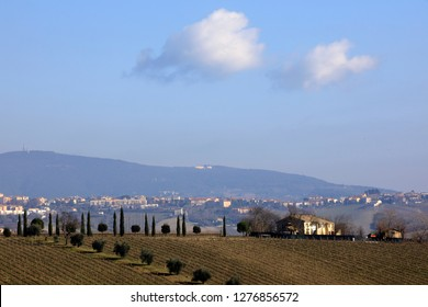 Ancona, Italy - January 1, 2019: A typical landscape in Marche country, Ancona, Marche, Italy