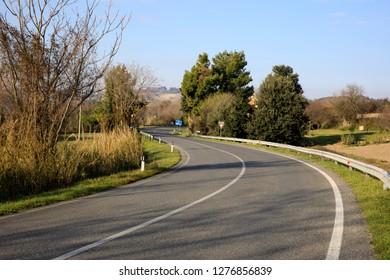 Ancona, Italy - January 1, 2019: The road behind Mezzavalle beach, Riviera del Conero, Adriatic Sea, Ancona, Marche, Italy