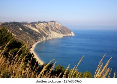 Ancona, Italy - January 1, 2019: View of  Mezzavalle beach, Riviera del Conero, Adriatic Sea, Ancona, Marche, Italy