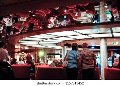 Ancona, Italy - May 30 2010: Travellers stand on a dance floor on a cruise ship.