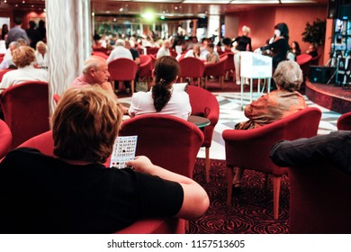 Ancona, Italy - May 30 2010: Travellers play bingo on a  cruise ship.
