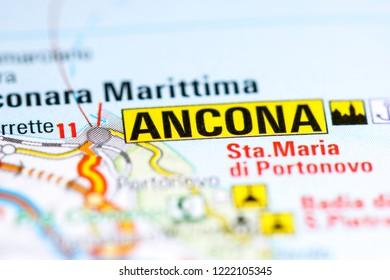 Ancona. Italy on a map